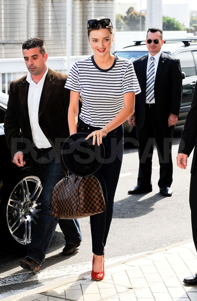 Miranda Kerr in stripes in Sydney.