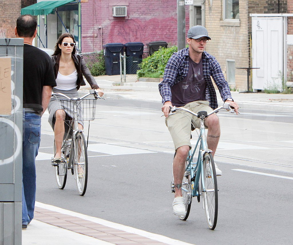 Justin Timberlake and Jessica Biel on a bike ride in Toronto.