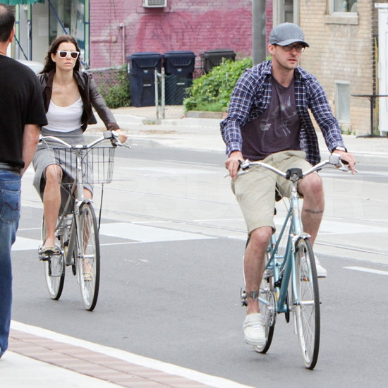 See Jessica Biel and Justin Timberlake's Reunion Bike Ride in Toronto!