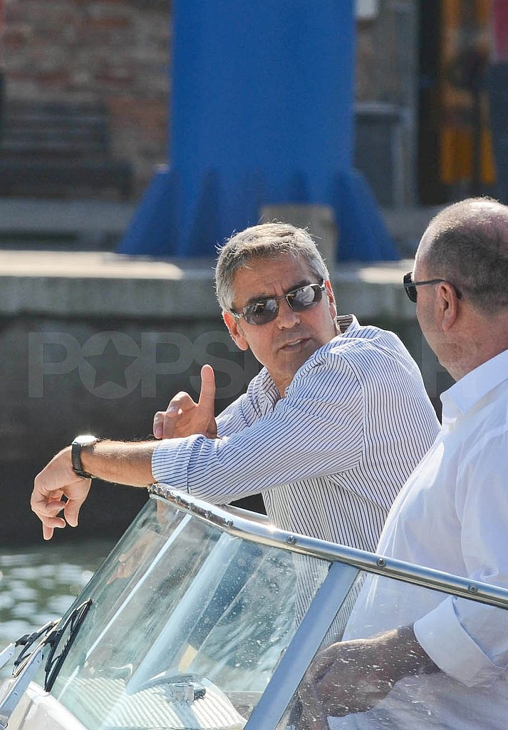 George Clooney Gets the Venice Film Festival Fun Started on a Boat With Friends