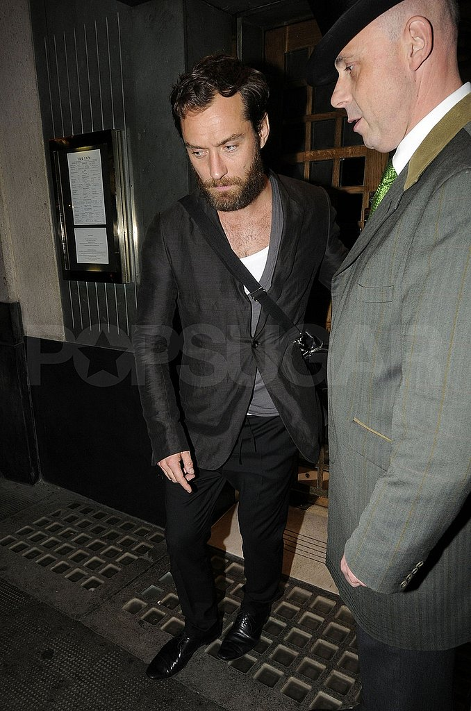 Jude Law stepped out in a shiny suit.