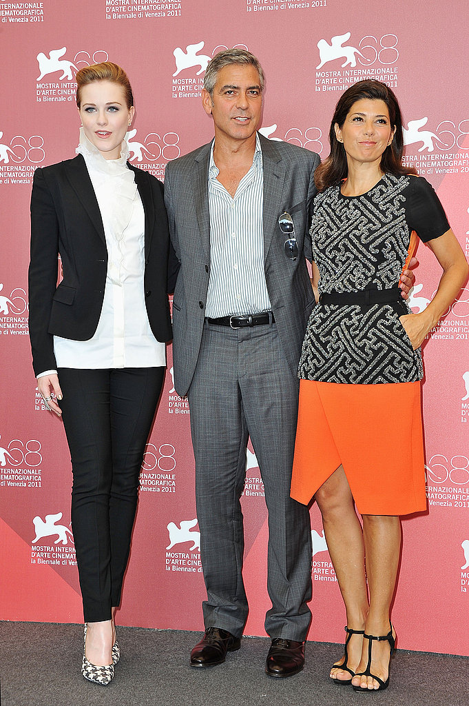 Marisa Tomei, George Clooney, and Evan Rachel Wood together in Venice for The Ides of March.