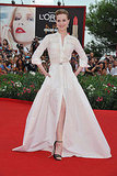 Evan Rachel Wood wears a white gown at the Venice Film Festival.