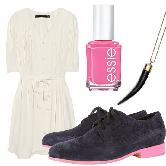 "A cute look for thrift store shopping with the girls. Minimarket Don Belted Crepe Dress ($150, originally $375), Esquivel Oxfords ($690), Essie ""Mob Square"" Nail Polish ($8), Horn Tooth Necklace ($20)"