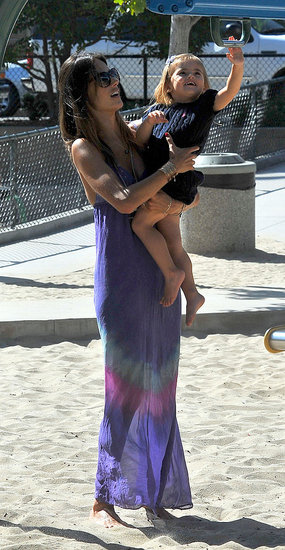 Alessandra Ambrosio and Anja play at a park in Santa Monica.