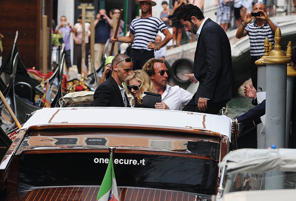 Madonna gets on a water taxi in Venice.