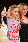 Madonna posed with her stars Abbie Cornish and Andrea Riseborough.