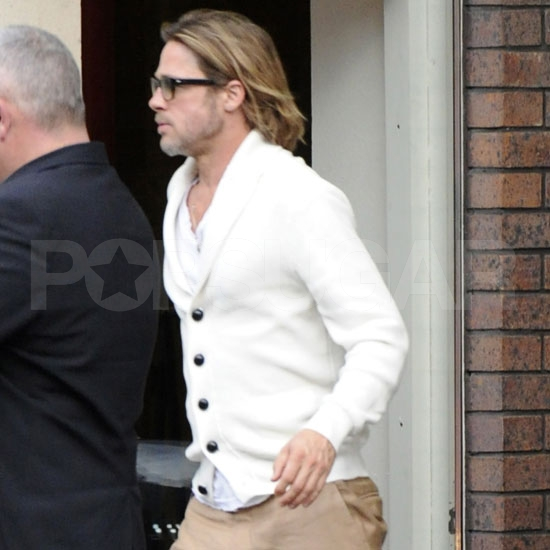 Brad Pitt wears a sweater in London.