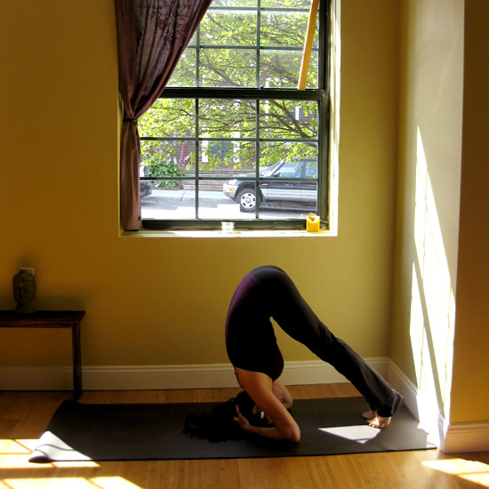 Bound Headstand Prep: Straight Legs