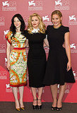 Andrea Riseborough, Madonna and Abbie Cornish pose together at the photo call.