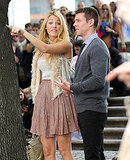 Blake Lively arrived on set in a flowy skirt.