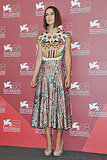 Keira Knightley wore a Mary Katrantzou dress at the Venice Film Festival.