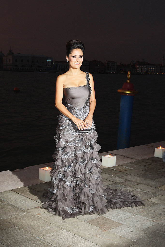 Salma Hayek looked stunning in silver.