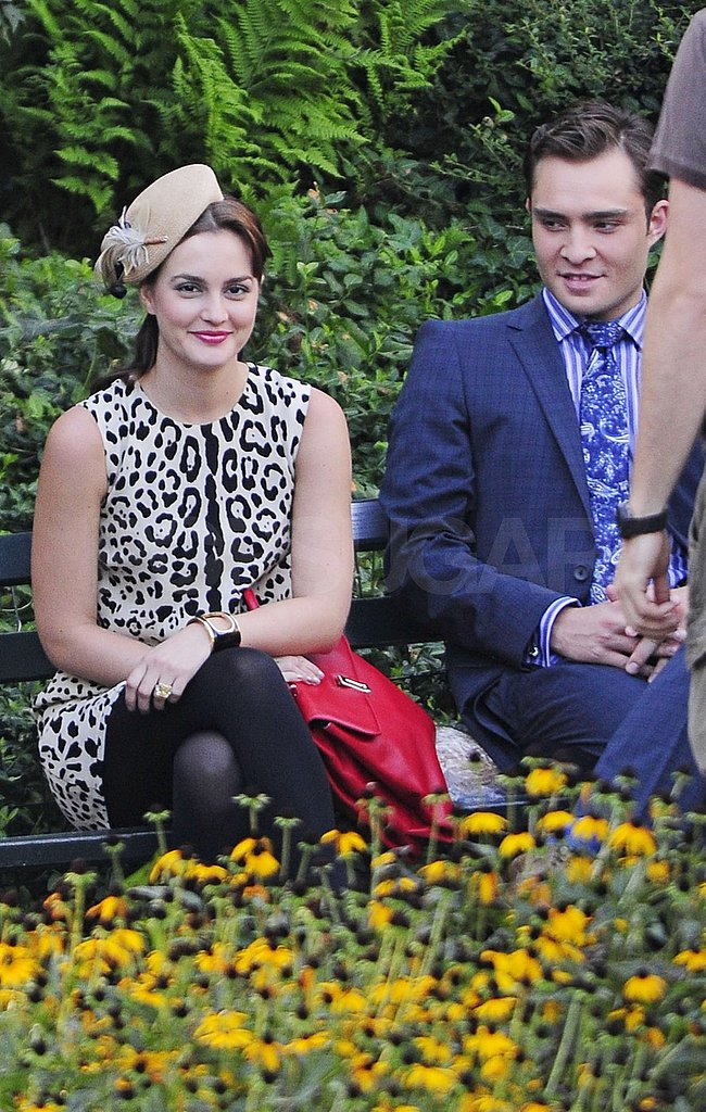Leighton Meester and Ed Westwick filmed in Central Park together.