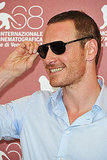 Michael Fassbender kept his sunglasses on at the premiere of A Dangerous Method at the Venice Film Festival.