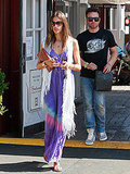 Alessandra Ambrosio looked beach cool while wearing at tie-dye maxi and fringed scarf in Santa Monica.
