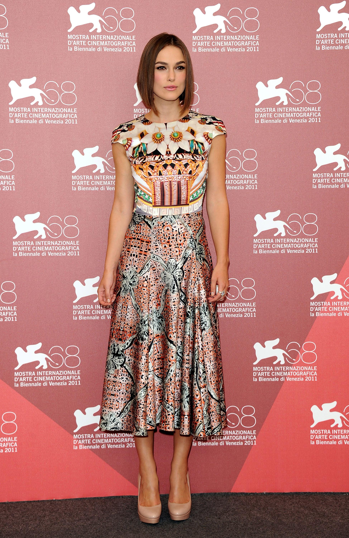 Keira Knightley looked gorgeous in printed midi-length dress by Mary Katrantzou.