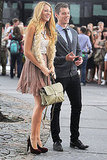 Blake Lively showed off a textured outfit while on the set of Gossip Girl.