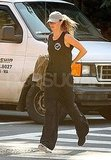 Gisele Bundchen jogs to her gym in Boston.