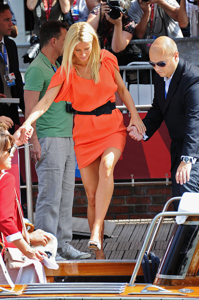 Gwyneth Paltrow gets ahead disembarking a Venice water taxi.