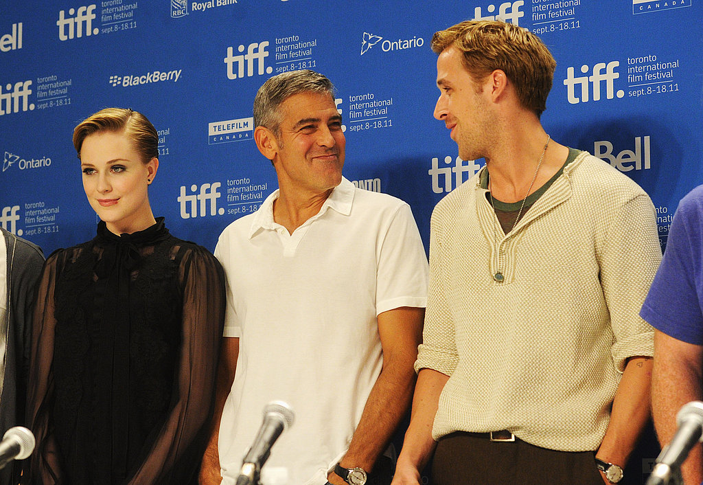 George Clooney and Ryan Gosling were joined by Evan Rachel Wood at the Ides of March TIFF press conference.