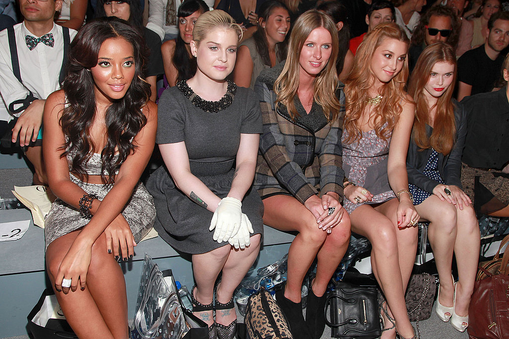 Front-rowers Angela Simmons, Kelly Osbourne, Nicky Hilton, Whitney Port, and Holland Roden took in the runway at Charlotte Ronson.