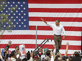 Obama waves to the crowd on Labor Day.