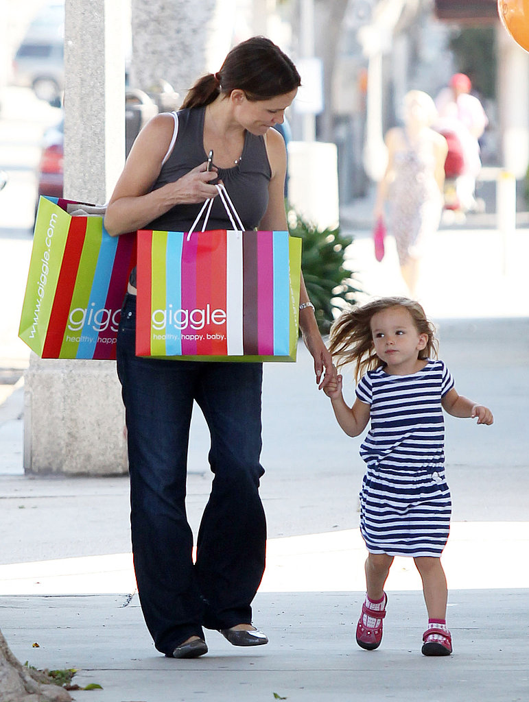 Pregnant Jennifer Garner and Seraphina Affleck leave Giggle in LA.