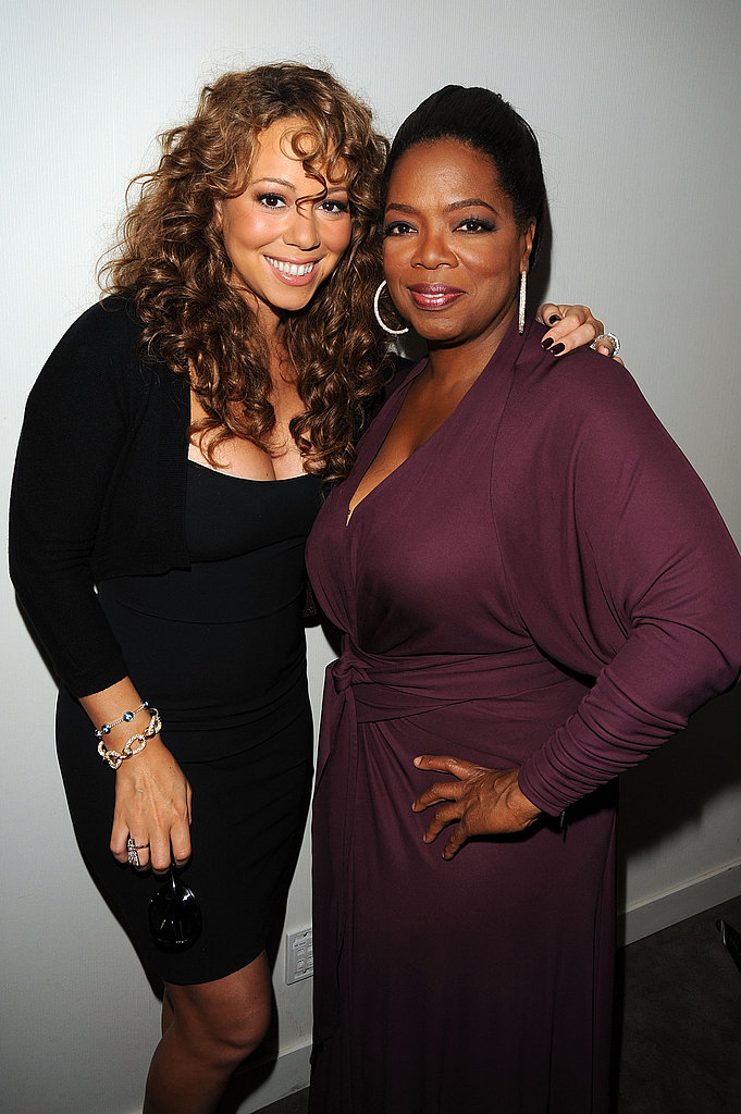 Mariah Carey and executive producer Oprah Winfrey posed for a photo prior to their 2009 premiere of Precious.