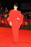 Selma Blair donned a standout red draped gown by Lanvin at the Dark Horse premiere.