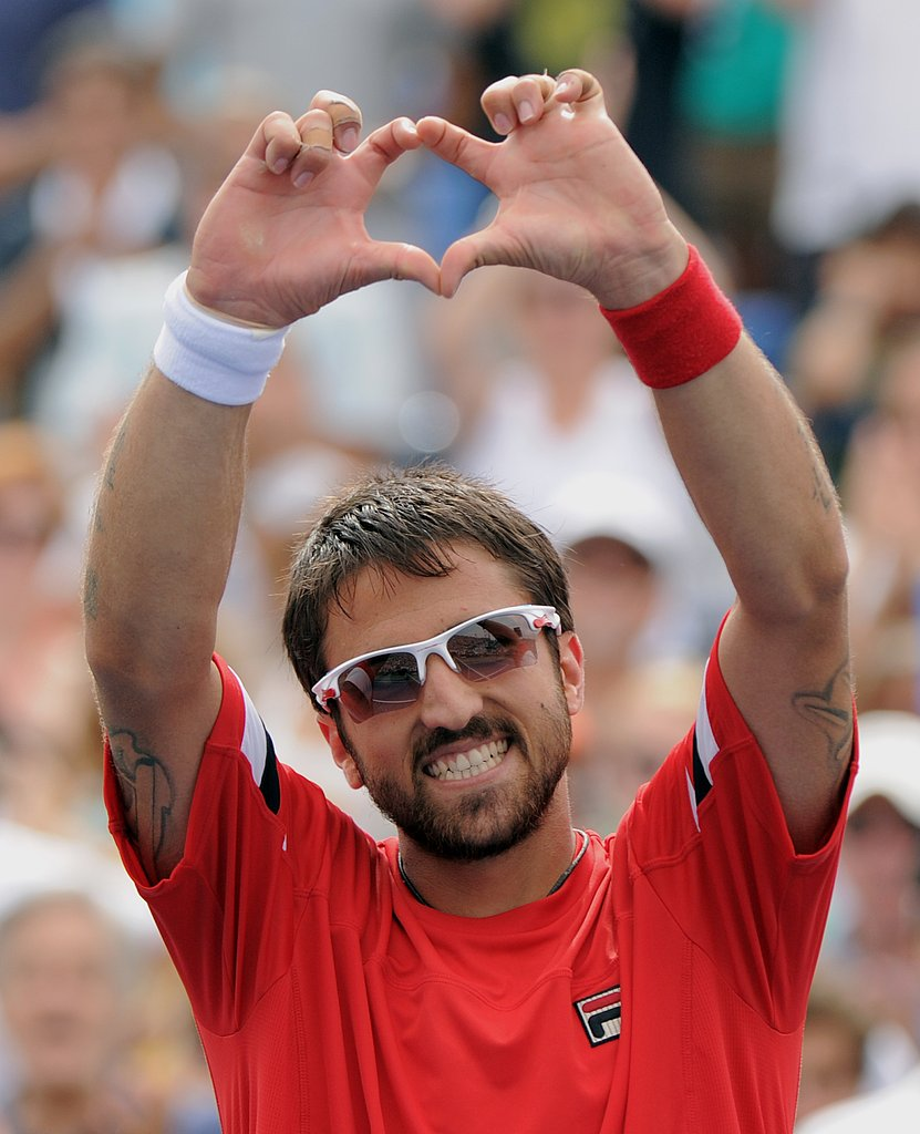 Janko Tipsarevic of Serbia celebrates his win over Juan Carlos Ferrero of Spain on Monday.