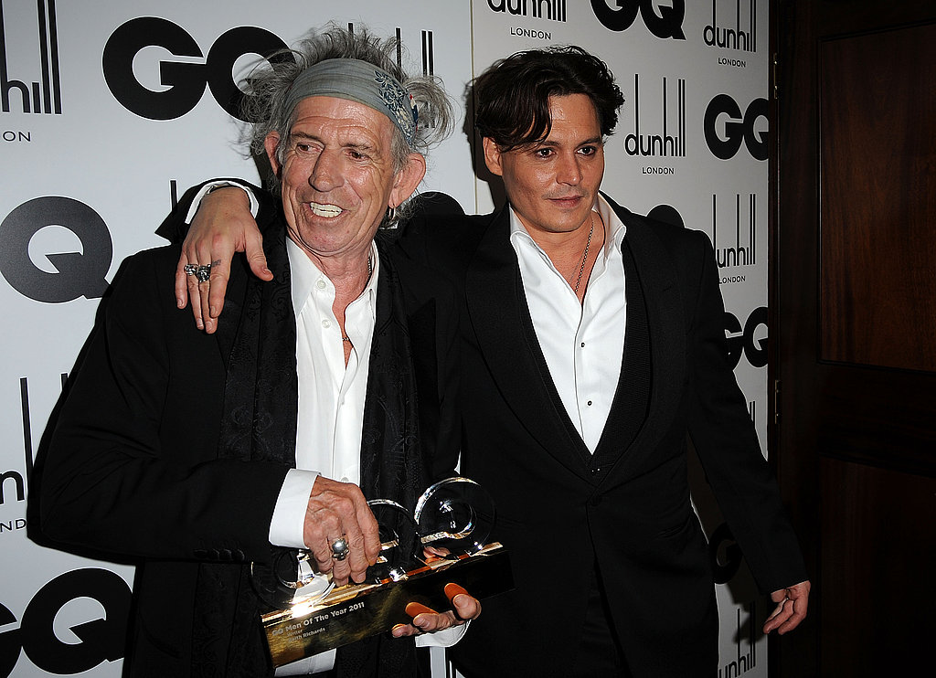 Keith Richards and Johnny Depp at the GQ Men of the Year Awards at London's Royal Opera House.