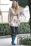Blake Lively kept her legs warm with a pair of sweats.