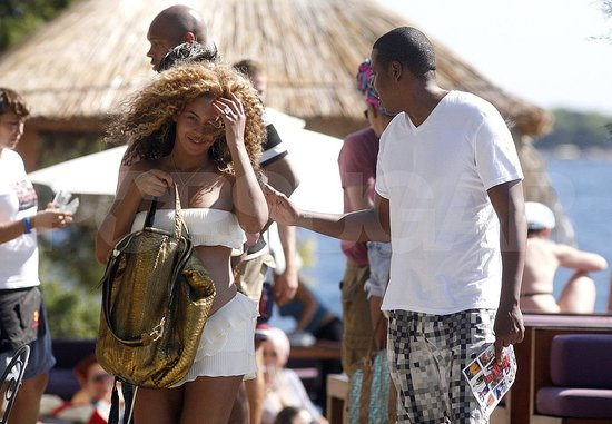 Pregnant Beyoncé Knowles in a white bikini with husband Jay-Z in Hvar, Croatia.
