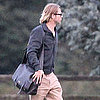 Brad Pitt Landing in Helicopter Pictures