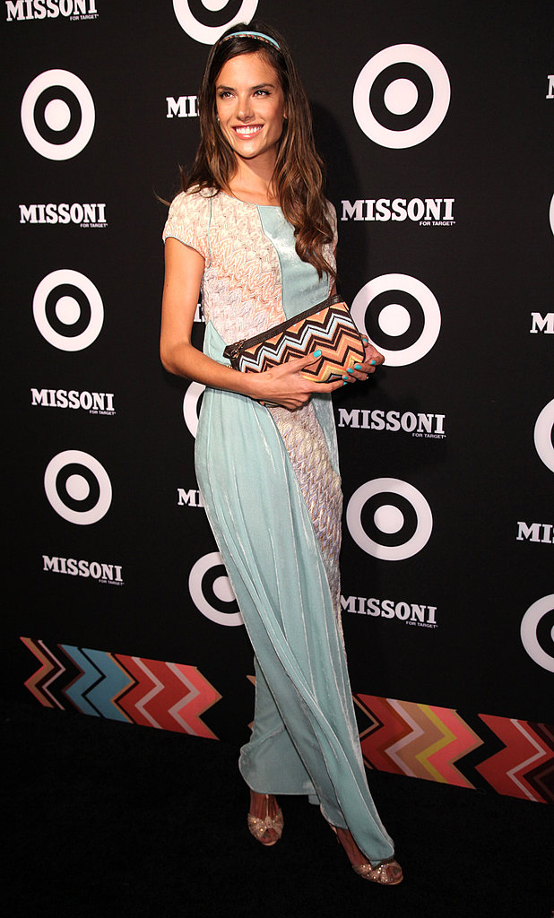 Alessandra Ambrosio carried a cute Missoni clutch.