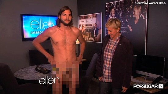 Video: Ashton Gets Naked and Accepts Candy Lingerie For Demi From Ellen!