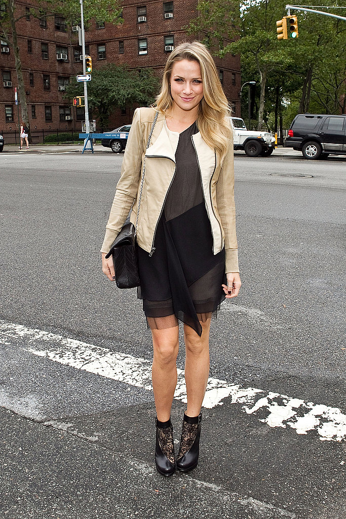 Shantel VanSanten donned a cool leather jacket over a semi-sheer LBD and booties.