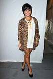 Vanessa Hudgens chose a casual cool outfit via a long tee dress and leopard print blazer.