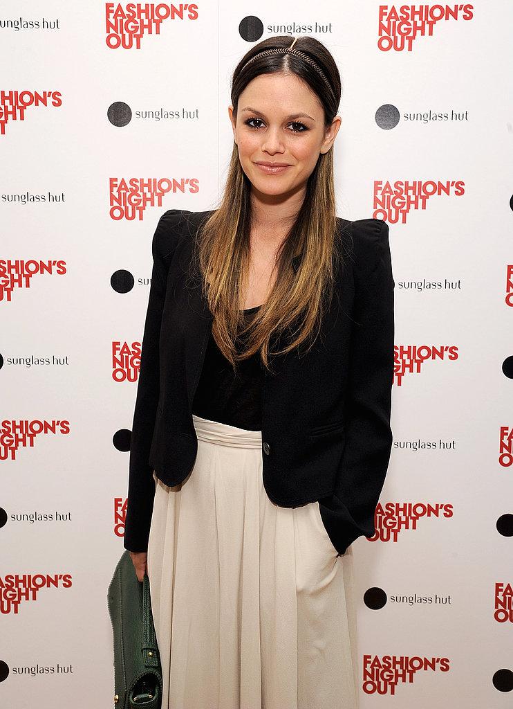 Rachel Bilson in a black blazer.