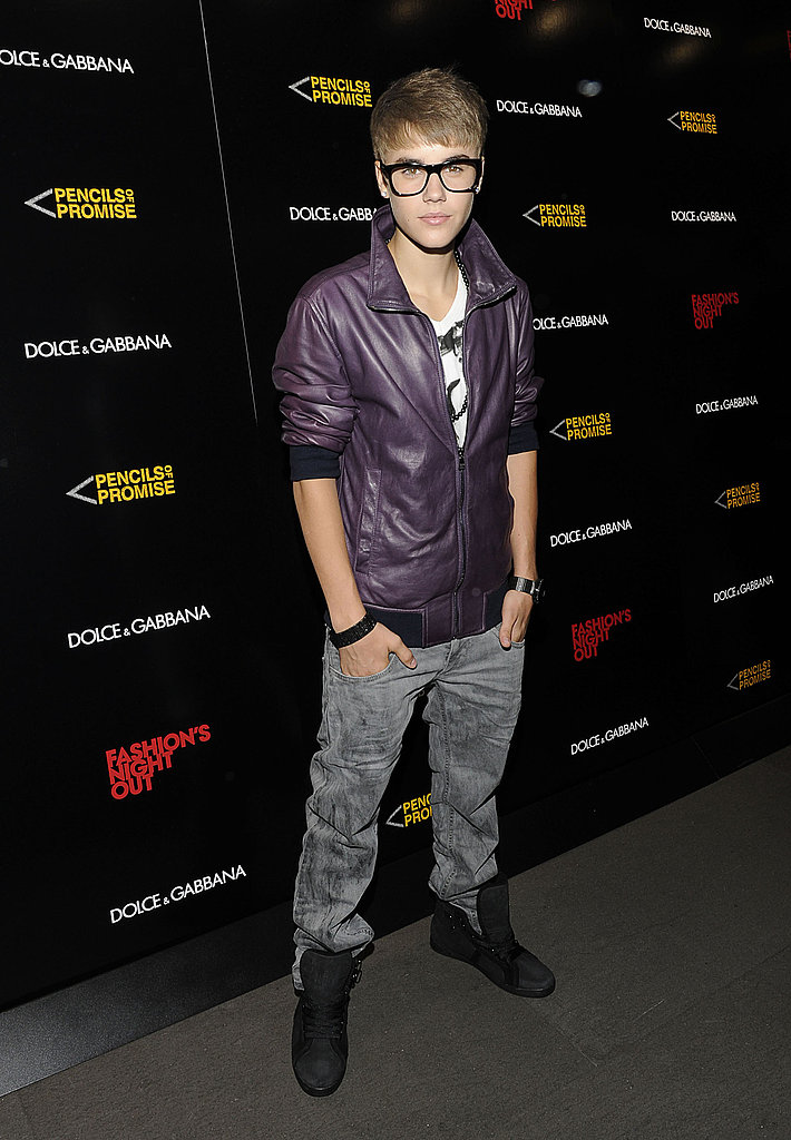 Justin Bieber hit the red carpet on Fashion's Night Out.