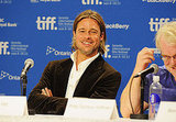 Brad Pitt looked sexy at Moneyball press conference.