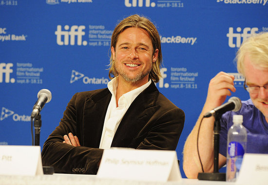 Brad Pitt Is Sexy, Scruffy, and Cool at TIFF Moneyball Press Conference With the Guys
