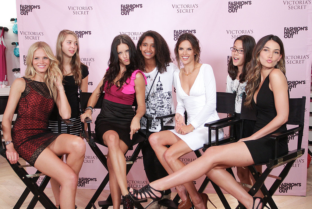 Adriana Lima, Alessandra Ambrosio, Lily Aldridge, and Erin Heatherton meet with fans.