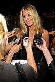 Heidi Klum answered questions from the press.