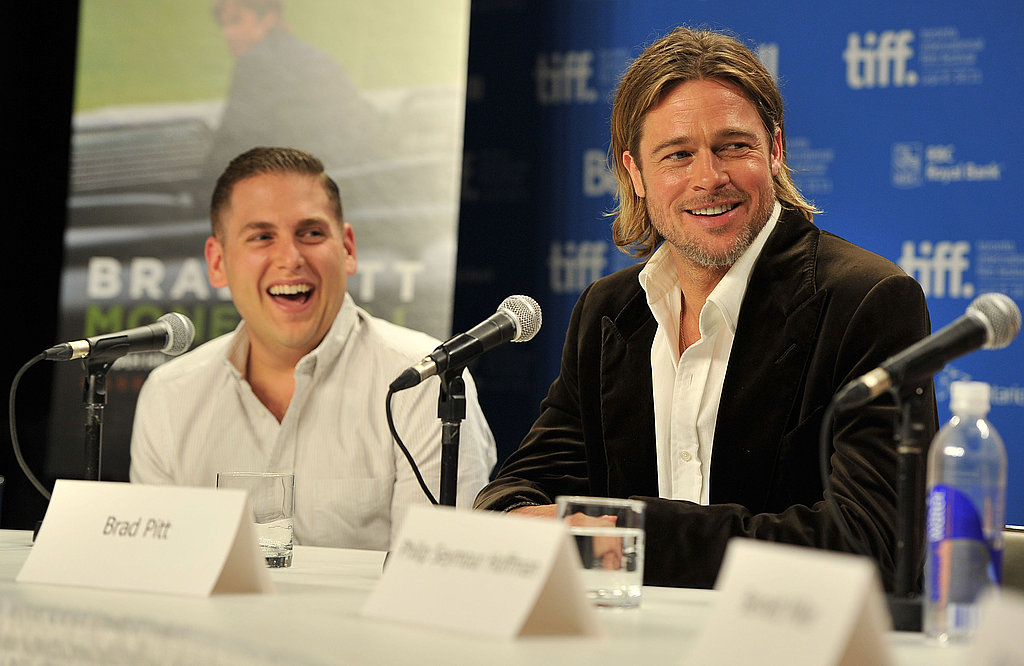 Brad Pitt and Jonah Hill laughed at the Moneyball press conference in Toronto.