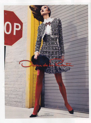 Karlie strikes a pose for Oscar de la Renta's Fall 2011 ad campaign, her fourth for the brand.
