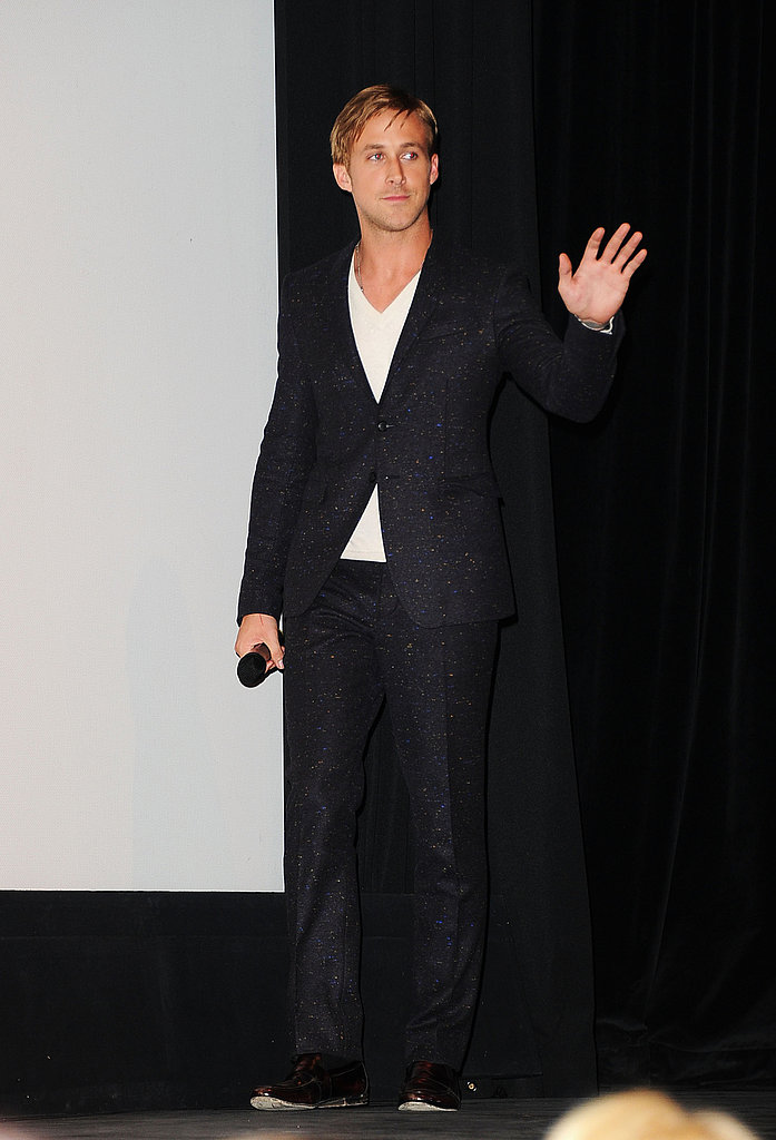 Ryan Gosling gave the audience a wave.