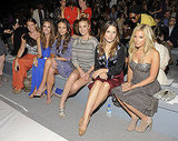 Louise Roe, Jordana Brewster, Whitney Port, Sophia Bush, and Ashley Tisdale sit front row at Rebecca Taylor.