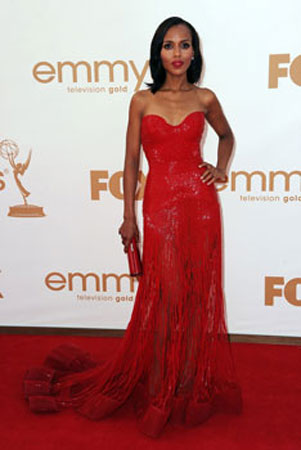 Kerry Washington was one of a handful of starlets who wore red.